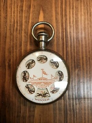 Vintage Antique Gambling Roulette  Horse Race Pocket Watch C. 1915 Rare