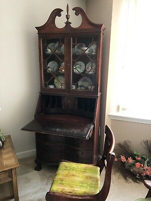 Antique Secretary Desk Slant Front With Glass Hutch Includes
