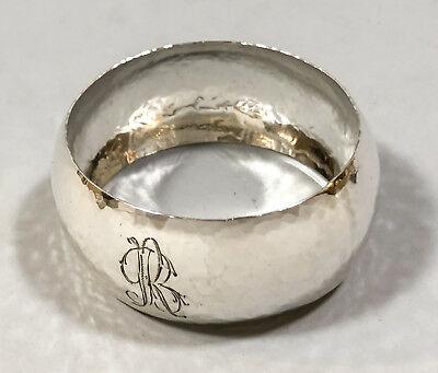 Antique Italian 800 solid silver hand-hammered napkin ring holder Arts & Crafts