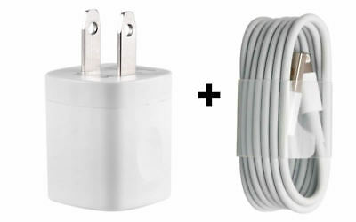 USB Wall Charger Power Adapter AC Home US Plug Sync Cable For iPhone 5  6 7 8 X