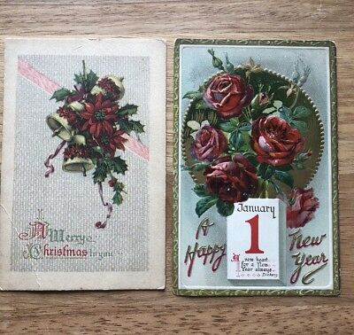 Antique Postcard Lot Of 2 Embossed Happy New Year Christmas Roses Bells Holly