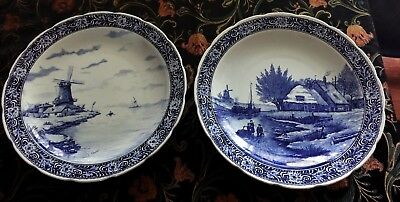 Vintage Pair of large decorative wall blue plate. Delft Royal Sphinx Maastricht