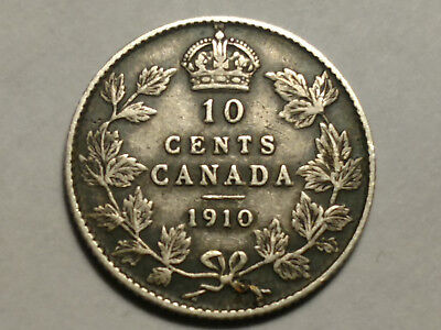 Canada 1910 Silver 10 Cents -  Free U.S. S/H