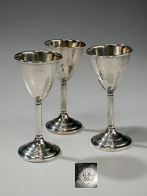 Lot of 3 Sterling National Silver Company Stemmed Cordial Goblets N. S. Co