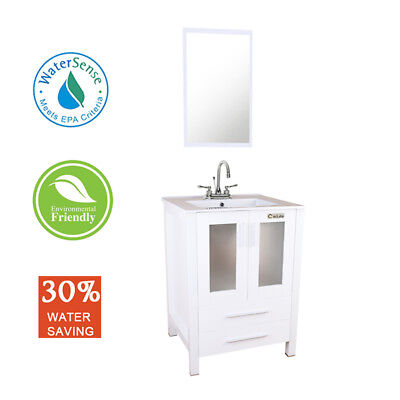 "24"" Bathroom Vanity White Rectangle Ceramic Sink with 2 Handle Faucet Mirror"