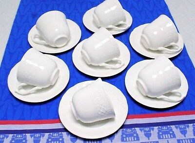 LOT of SEVEN Johnson Bros. RICHMOND WHITE Tea Cup & Saucer SETS Ironstone