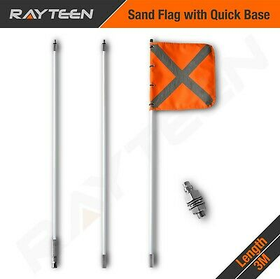 3 x 1m Recovery Sand Flag Safety Flag Simpson Desert, with quick connector base