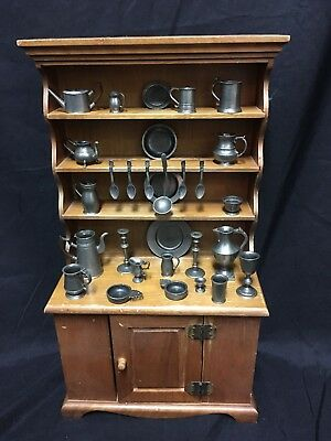 1982 Franklin Mint COLONIAL AMERICAN PEWTER MINIATURES COLLECTION + Hutch 32 Pcs