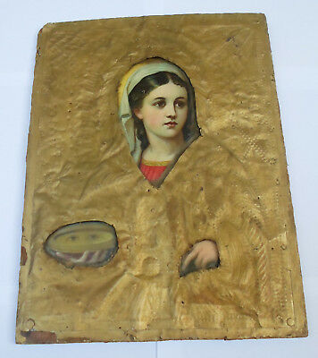 Saint PARASKEVI Antique Greek Russian Orthodox Metal Covered Icon on Wood