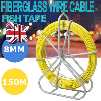 8mm 150m Fiberglass Wire Cable Rod Duct Electrical Tape Running Puller UK