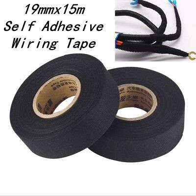 19mmx15M Self Adhesive Cloth Fabric Tape Cable Looms Wiring Harness For Car Auto