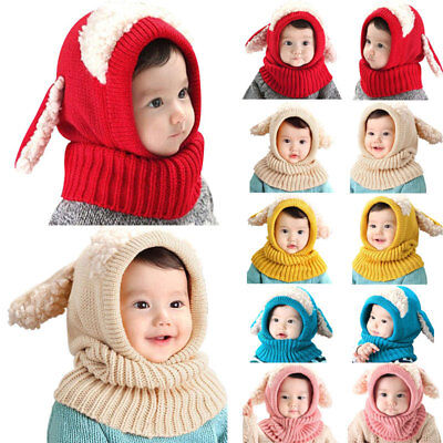 Baby Toddler Girls Boys Warm Hat Winter Beanie Hooded Scarf Earflap Knitted Cap