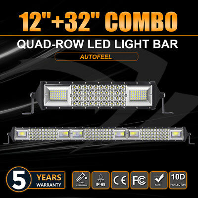 12''+32'' LED Light Bar Quad-Row Driving Spot Flood Truck Offroad Boat Fog Lamp