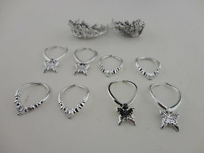 12pcs Jewelry in Silver Plastic 8 Necklaces and 4 Crowns Made for Barbie Doll