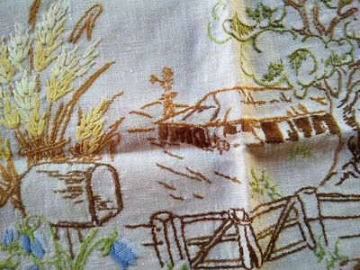 Australian Homestead and wild-flowers ~ Hand Embroidered Centrepiece