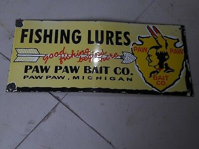 Porcelain Fishing Lures Paw Paw Bait co Porcelain Sign 20 X 9 Inches