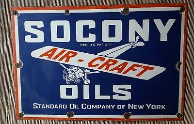 "SOCONY AIRCRAFT Enamel Sign SIZE 20"" X 30""  INCHES"