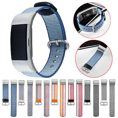 Woven Fabric Wrist Strap Watch Band w/Stainless Buckle For Fitbit Charge 2 New