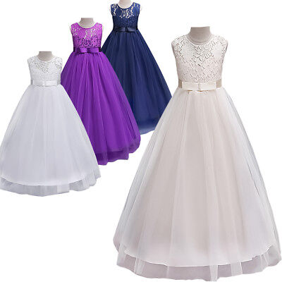 Flower Girl Dress For Wedding Long Lace Formal Ball Gown First Communion Dresses