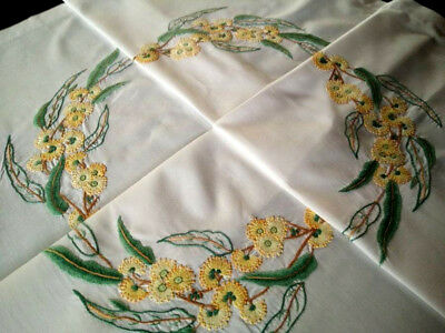Wonderful Australian Flowering Gum   ~ Vintage Hand Embroidered Tablecloth