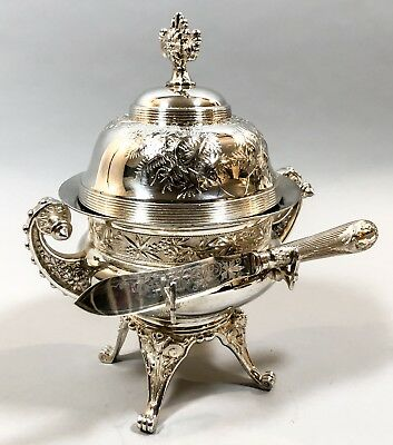Antique silver plate Aesthetic dome tall butter caviar dish Meriden B ice liner