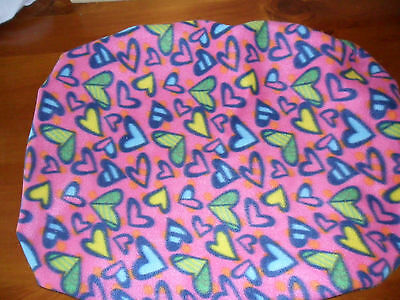 Pink abstract hearts print Stokke shaped fitted nappy change cover.  72cm x 60cm