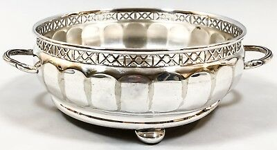 Art Deco silver plate panelled baluster 2-handled bowl coaster pierced ornate