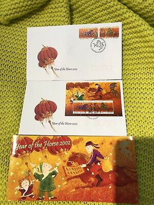 2002 Christmas Island Year Of The Horse First Day Stamp Set