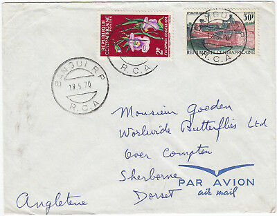U1072 CAR commercial air cover to UK, 1970; 32F rate, Bangui RP CDS