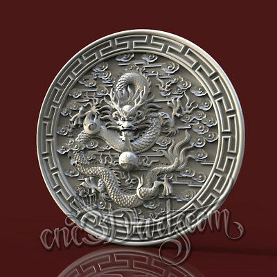 3D Model STL for CNC Router Artcam Aspire Asia Round Dragon Panel Cut3D Vcarve