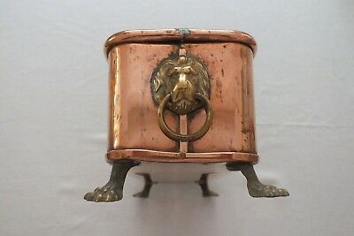 Vintage Rectangular Copper Trough/planter With Lion Head Handles & Paw Feet