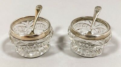 Antique Edwardian sterling silver cut-glass pair 2 salt cellars mustard pots