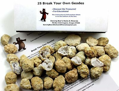 "25 Break Your Own Geodes, 90% Hollow-Small ( 1-1.5"") Crack Open & Discover Amazi"