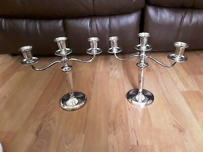 Pair Of Vintage Silver Plated 3 Sconce Candelabra's