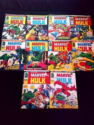 The Mighty World of Marvel Starring The Incredible Hulk Vintage Joblot x 10 70's