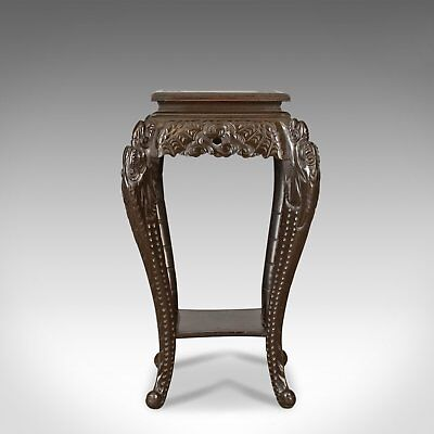 Antique Plant Stand, Carved Chinese Side Table, Torchere, Pedestal Circa 1910