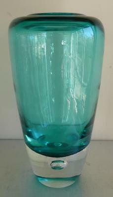 Retro Torquoise Art Glass Vase Mid Century