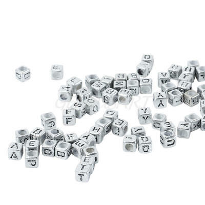 200 Pcs Acrylic Alphabet Beads With Black Letters Silver Cube Square Shaped