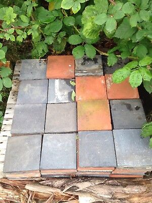 """Reclaimed Approx. 6""""x6"""" Red and Black Quarry Tiles."""