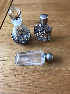 Small Collection of Silver & Glass Perfume Bottles