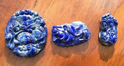 19th Century Three Chinese Natural Lapis Lazuli Hand Carved Pieces