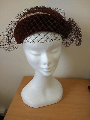 Stunning Brown Vintage Velvet Hat With Netted Veil With Small Dangling Flowers