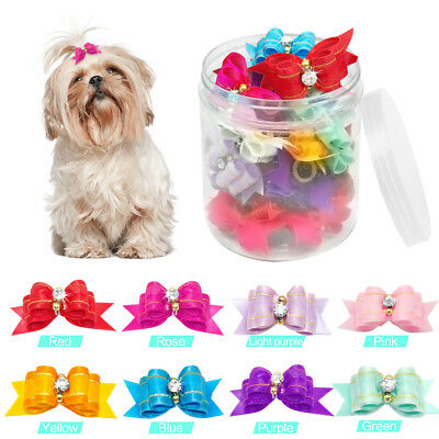 20/50/100pcs Cat Dog Hair Bows Rubber Band Dog Grooming Accessories Headdress