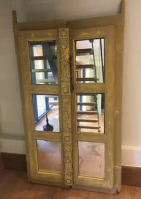 Pair of antique Indian doors solid carved wood