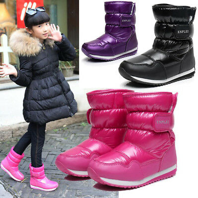 Boys Girls Kids Thermal Fur Fleece Lined Snow Boots Winter Warm Boots Waterproof
