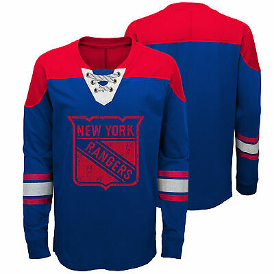 NHL New York Rangers Perennial Long Sleeve Crew Jersey Shirt Top Youth Kids