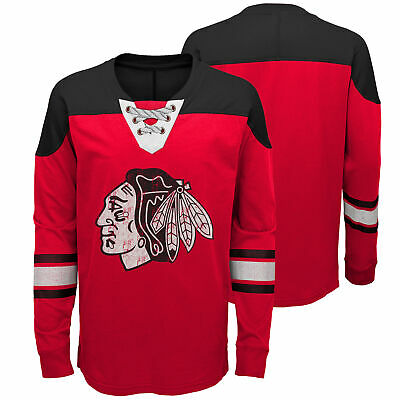 NHL Chicago Blackhawks Perennial Long Sleeve Crew Jersey Shirt Top Youth Kids