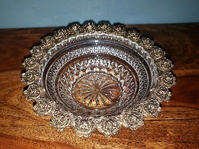 Ornate Vintage Clear Cut Glass Bowl w/ Beautiful Rose Edged Brass Gold Design
