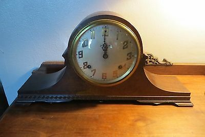 Beautiful Vintage Ingram Solid Oak Shelf Clock, Duplex 7 inch 8 day clock, old