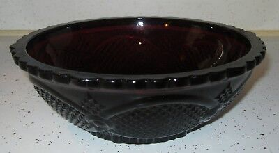 """AVON Cape Cod Large Serving Bowl 8 3/4"""" Ruby Red Glassware Collection"""